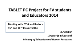 Tablet PC project FoRM V 2014 - Ministry of Education and Human