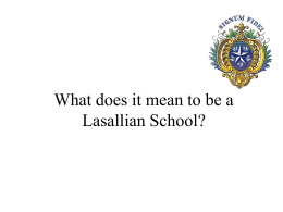 What does it mean to be a Lasallian School?