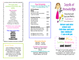 Seed of Knowledge Brochure - Seeds of Knowledge Preschool and