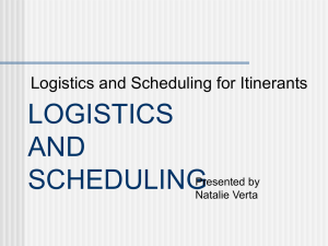 PowerPoint Presentation - LOGISTICS AND SCHEDULING