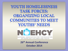 Organizing Local Communities to Meet Youths` Needs