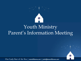 Youth Ministry Parent`s Information Meeting