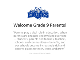 Welcome Grade 9 Parents 2013 for web