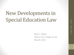 New Developments in Special Education