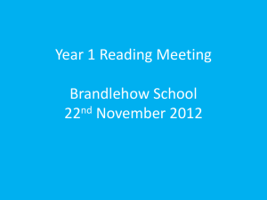Year 1 Reading Meeting - Brandlehow Primary School