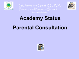to parents - St James the Great RC Primary & Nursery School