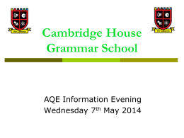 Click here to download. - Cambridge House Grammar School