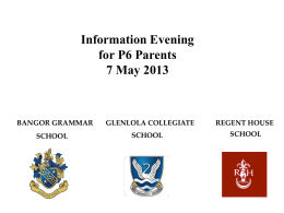 AQE Transfer Process 2014 Information Evening for P6 Parents