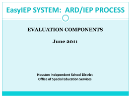 Evaluation Summary Examples - HISD Special Education Updates