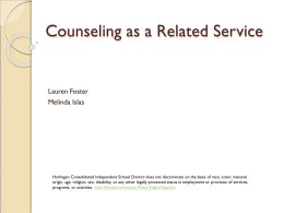 Counseling as a Related Service - Harlingen CISD / Harlingen