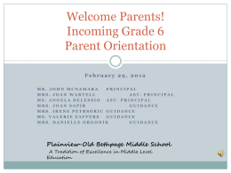 Grade 5 to 6 Transition Meeting PowerPoint - The Plainview