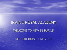 New S1 Information - Irvine Royal Academy