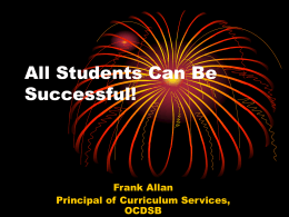 Student Success in the OCDSB