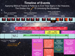 Timeline of Events Applying Biblical Patterns to End Time Signs