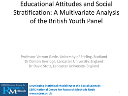 A Multivariate Analysis of the British Youth Panel