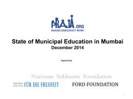 Highlights of State of Municipal Education in Mumbai