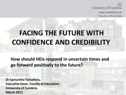 Dr Sam Twiselton - `Facing the future with confidence
