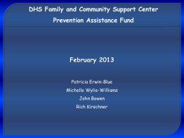 Prevention Assistance Fund DHS Family and Community Support