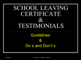 school leaving certificate & testimonials