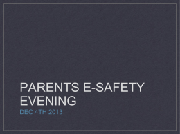 PARENTS E-SAFETY EVENING - The Nelson Thomlinson School