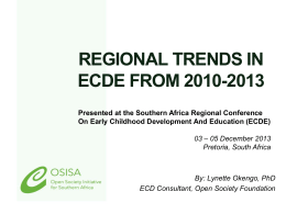 Regional trends in ECDE from 2010-2013
