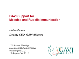 GAVI Support for Measles and Rubella Immunization