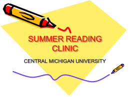 SUMMER READING CLINIC - Central Michigan University