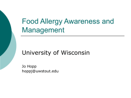 Food Allergy - University of Wisconsin