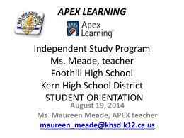 APEX LEARNING FHS STUDENT ORIENTATION