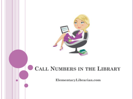 Call Numbers Presentation