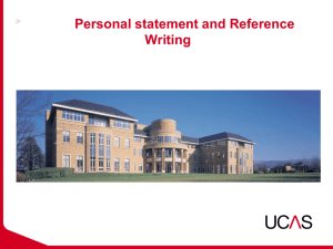 UCAS Personal Statement & Reference