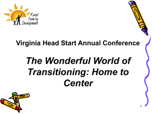 The Wonderful World of Transitioning: Home to Center