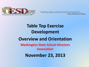 Table Top Exercise Development Overview and Orientation