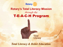 Teacher - Rotary India Literacy Mission