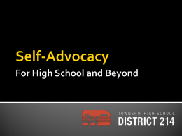 Self-Advocacy - High School District 214