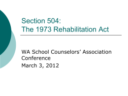 Section 504 - Washington School Counselor Association