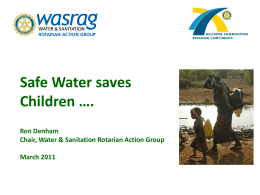Rotary and The Millennium Goal for Safe Water