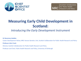 Measuring Early Child Development in Scotland