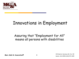 Innovation in Employment
