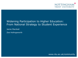 Widening Participation to Higher Education