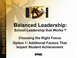 Balanced Leadership: School Leadership That Works™