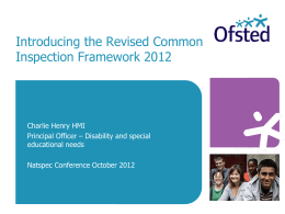 Common Inspection Framework 2012 - The Association of National