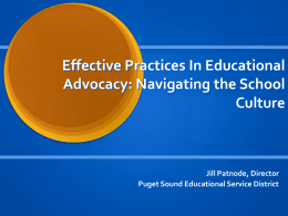 Effective Practices in Educational Advocacy