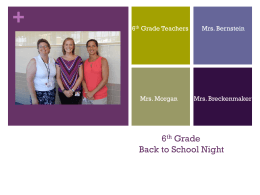 6th Grade Back To School Night Presentation