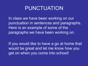 Punctuation in Paragraphs - Charles Darwin Community Primary