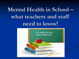 Mental Health in School - Hardeman County Schools