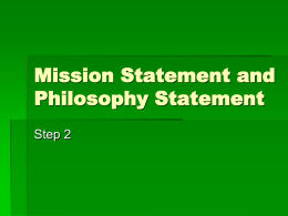 Mission and Philosophy Statement
