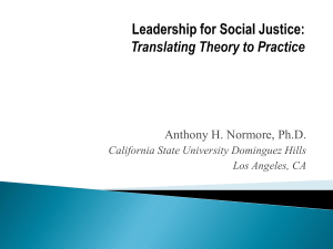 Leadership for Social Justice - Education and Leadership in