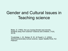 Gender and Cultural Issues in Teaching science