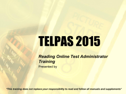 Reading Online Test Administrator Training